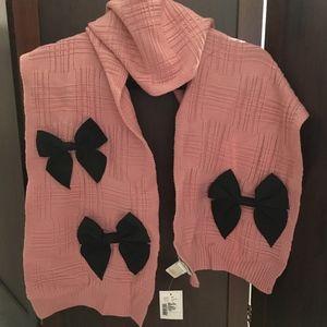Kate Spade Pink Plaid Wool Muffler Scarf- Rose